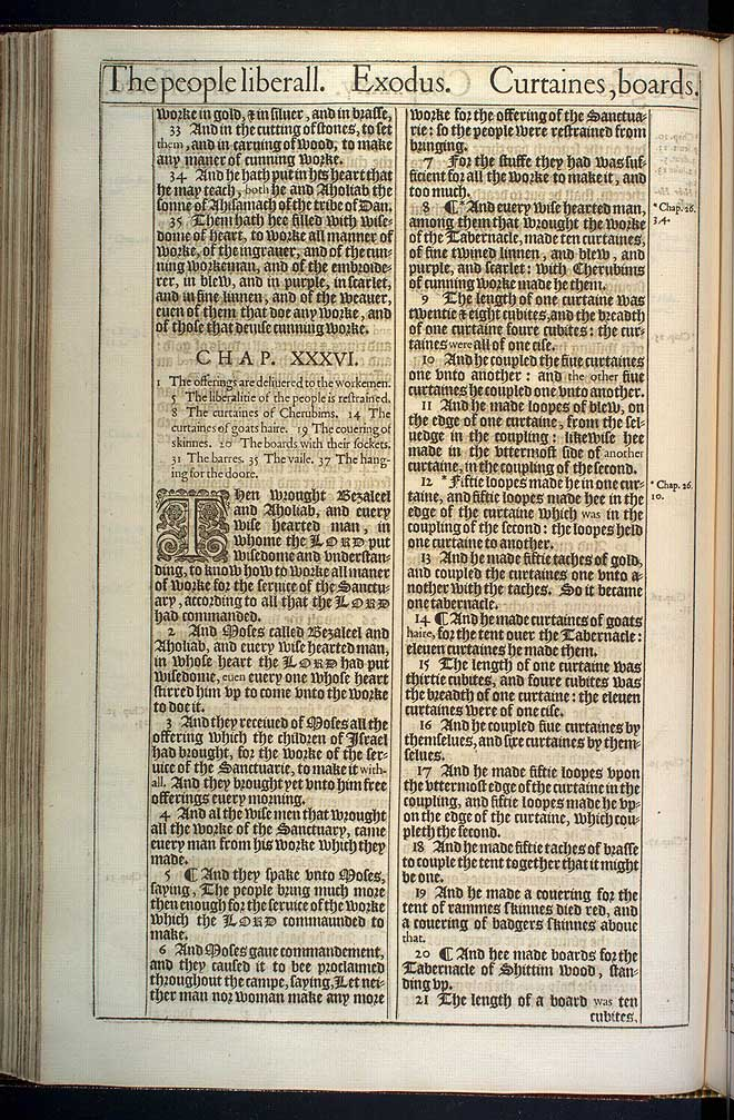Exodus Chapter 36 Original 1611 Bible Scan
