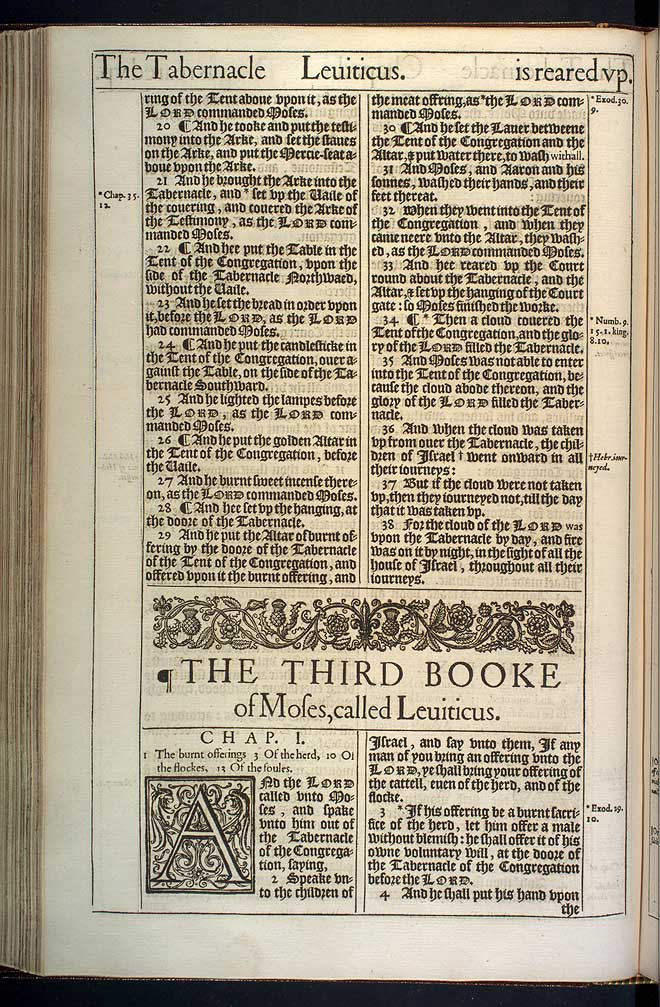 Leviticus Chapter 1 Original 1611 Bible Scan
