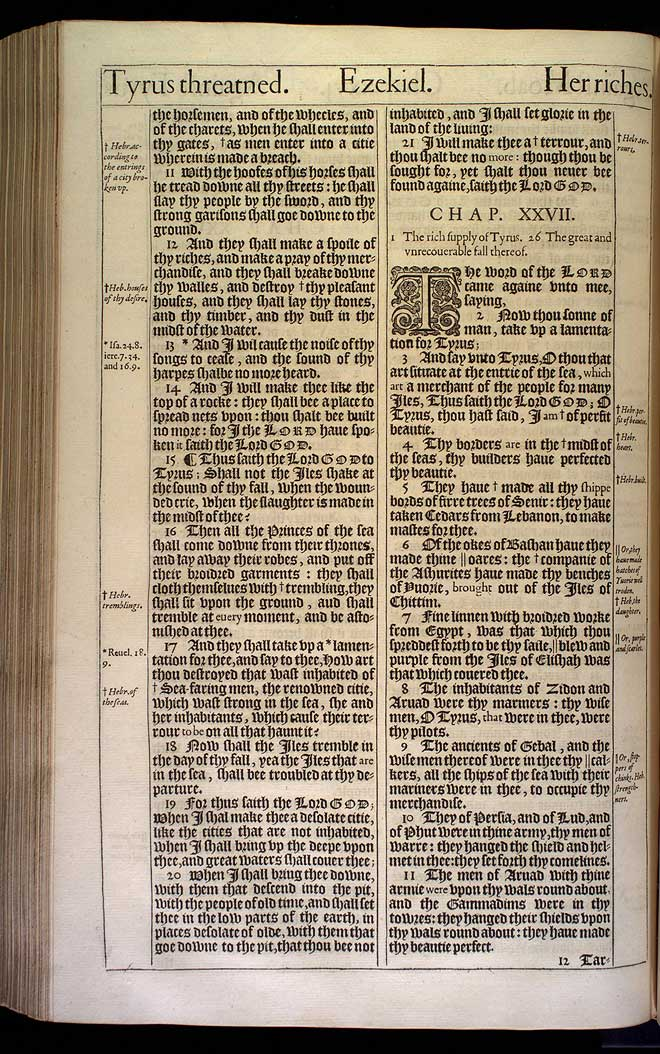 Ezekiel Chapter 26 Original 1611 Bible Scan