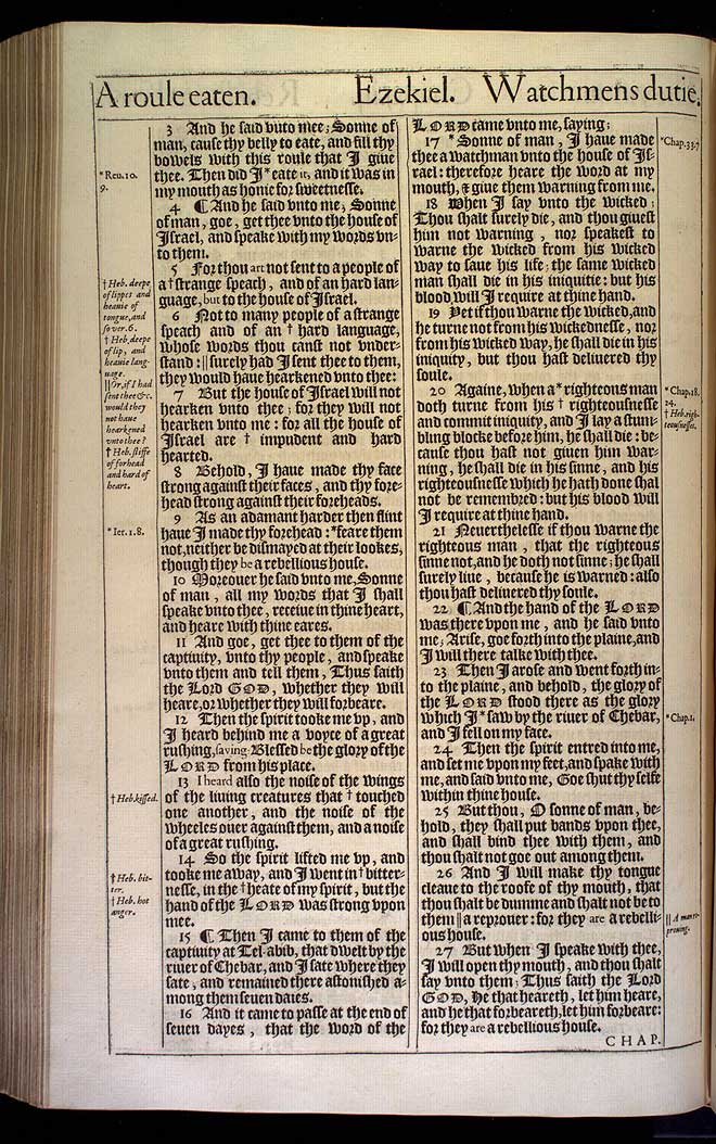 Ezekiel Chapter 3 Original 1611 Bible Scan