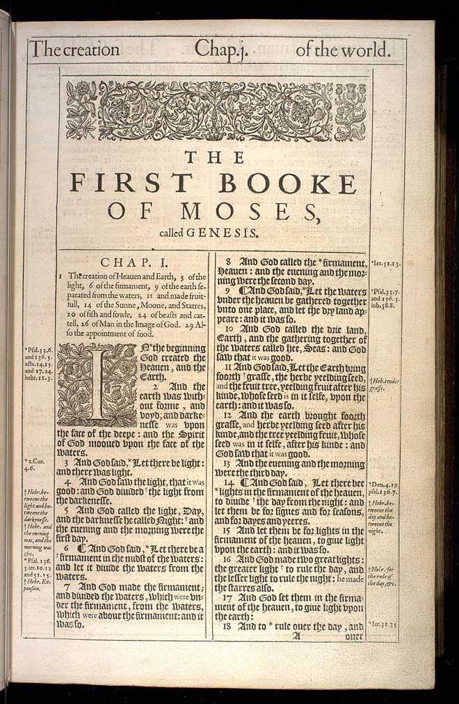 Genesis Chapter 1 Original 1611 Bible Scan
