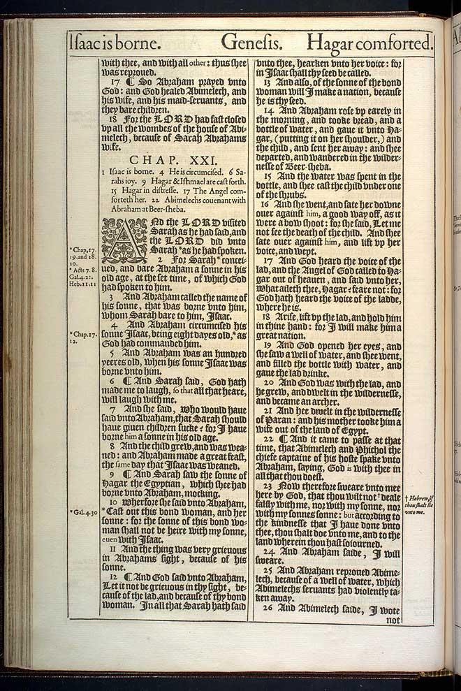 Genesis Chapter 21 Original 1611 Bible Scan