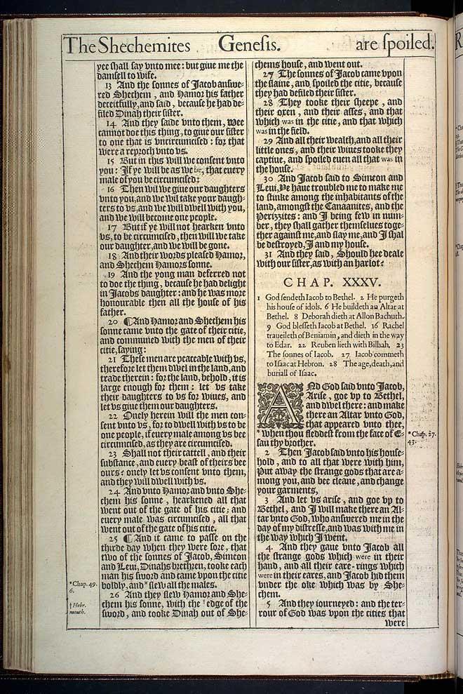 Genesis Chapter 35 Original 1611 Bible Scan