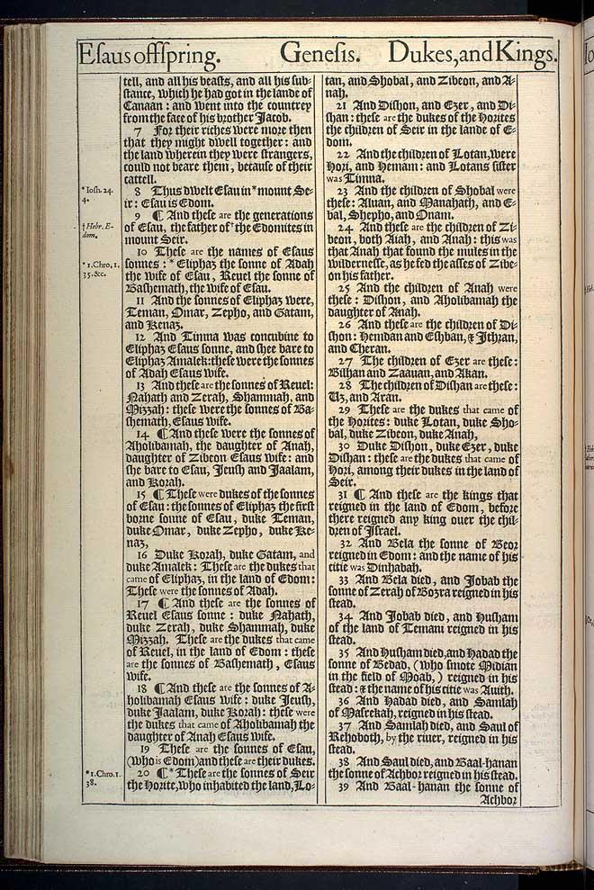 Genesis Chapter 36 Original 1611 Bible Scan
