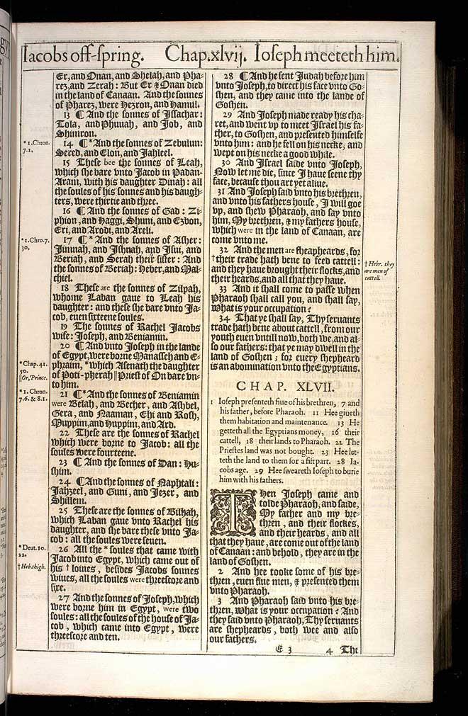Genesis Chapter 46 Original 1611 Bible Scan