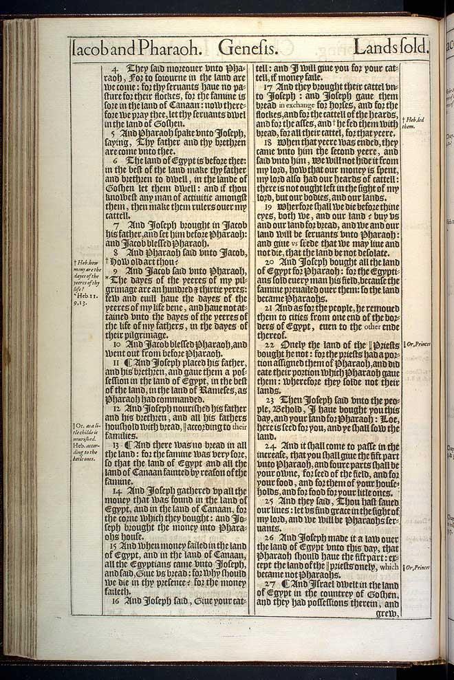 Genesis Chapter 47 Original 1611 Bible Scan