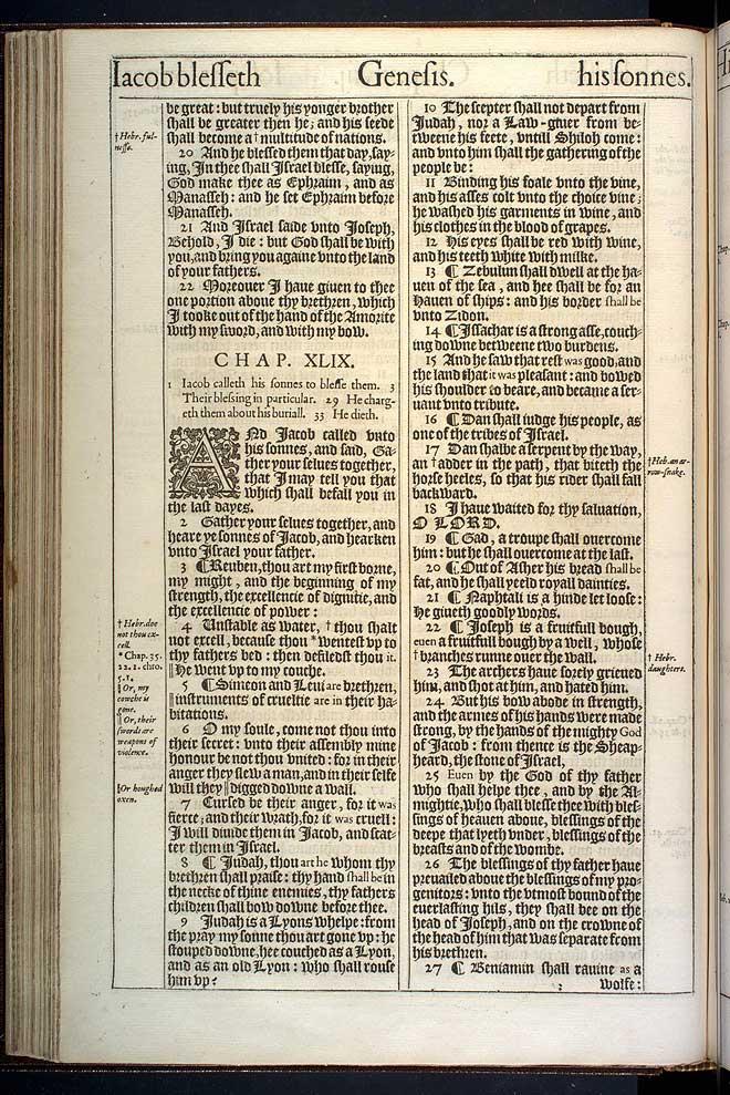 Genesis Chapter 49 Original 1611 Bible Scan