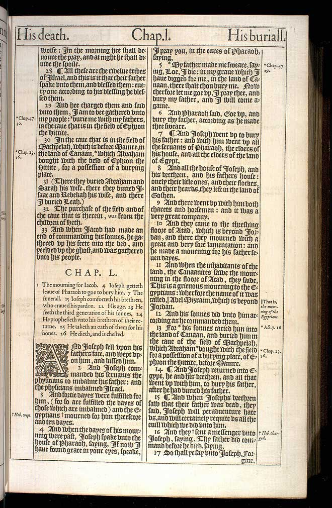 Genesis Chapter 50 Original 1611 Bible Scan