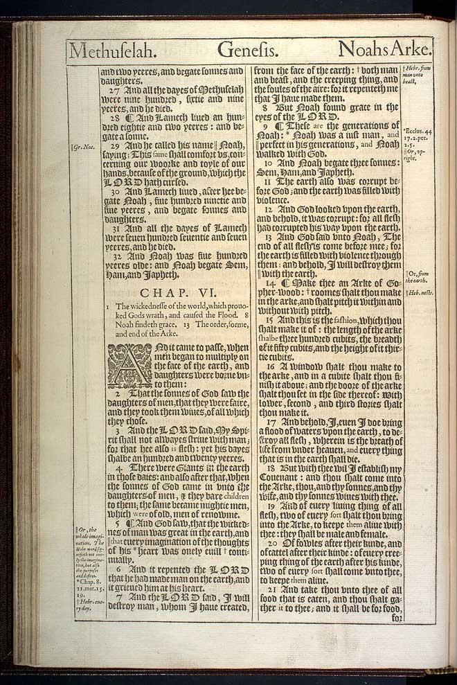 Genesis Chapter 6 Original 1611 Bible Scan