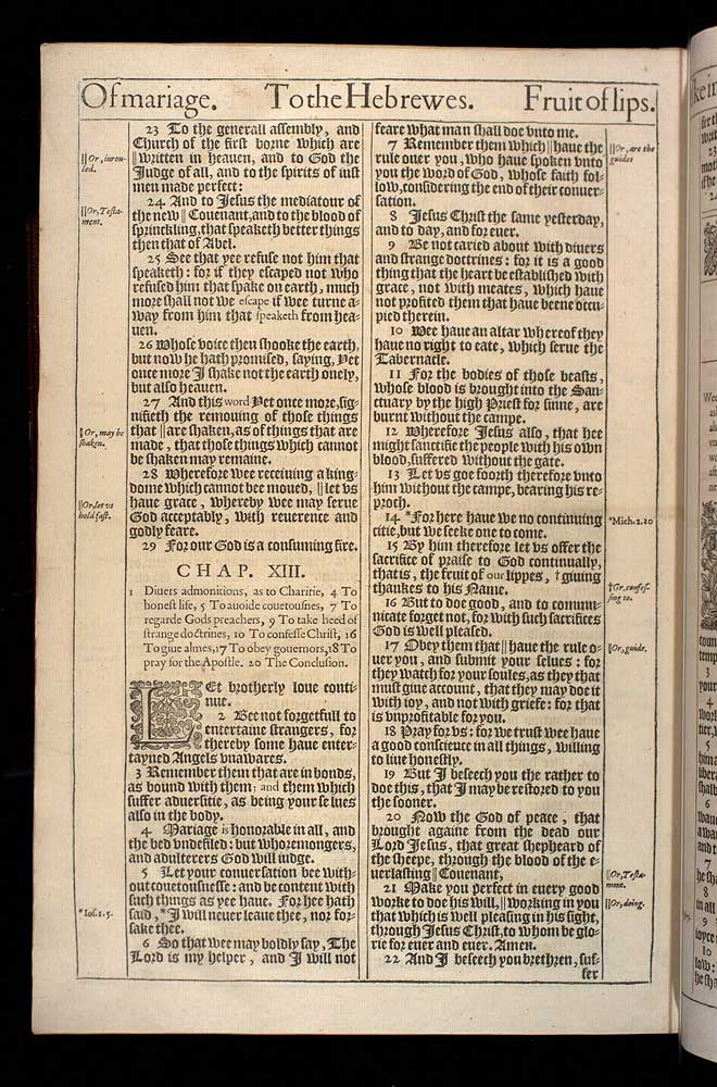 Hebrews Chapter 13 Original 1611 Bible Scan