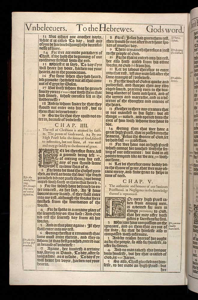 Hebrews Chapter 3 Original 1611 Bible Scan