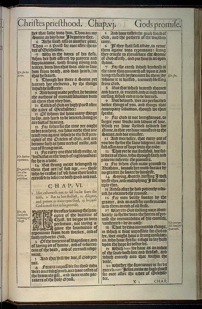 Hebrews Chapter 6 Original 1611 Bible Scan