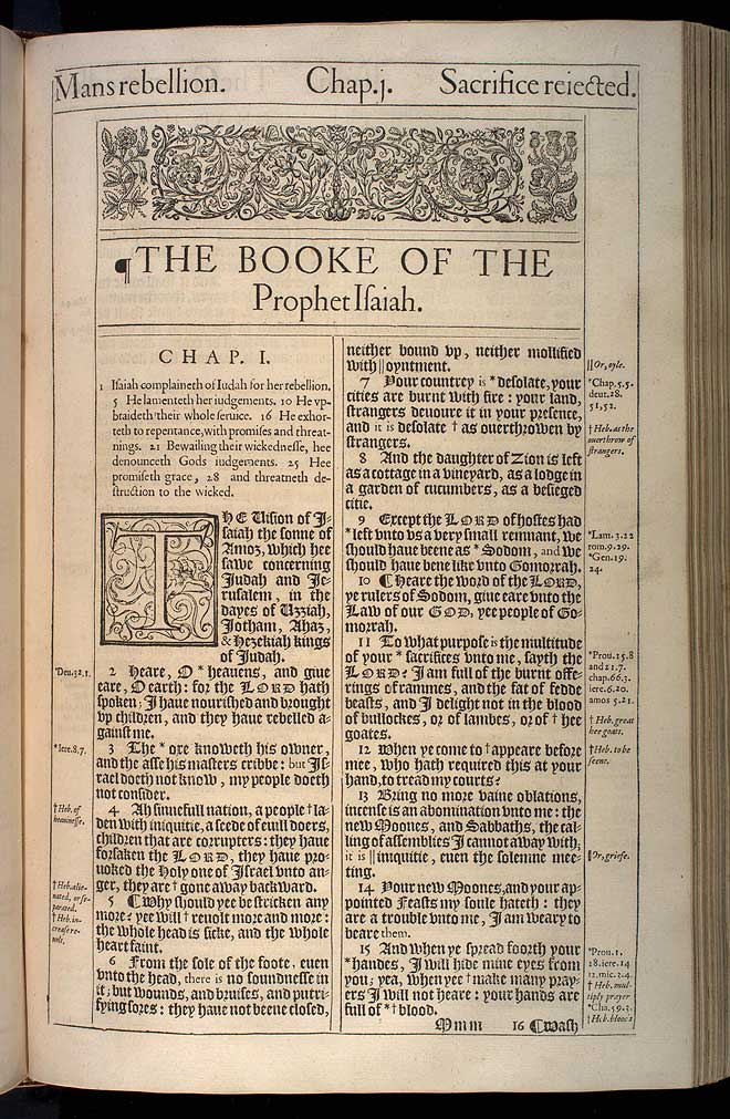 Isaiah Chapter 1 Original 1611 Bible Scan