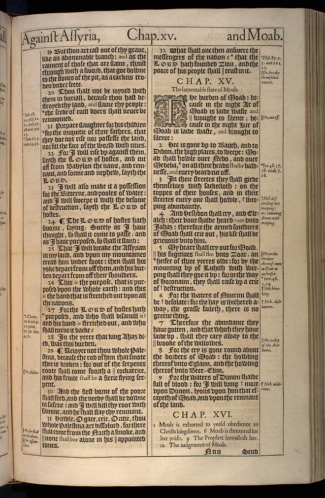 Isaiah Chapter 15 Original 1611 Bible Scan