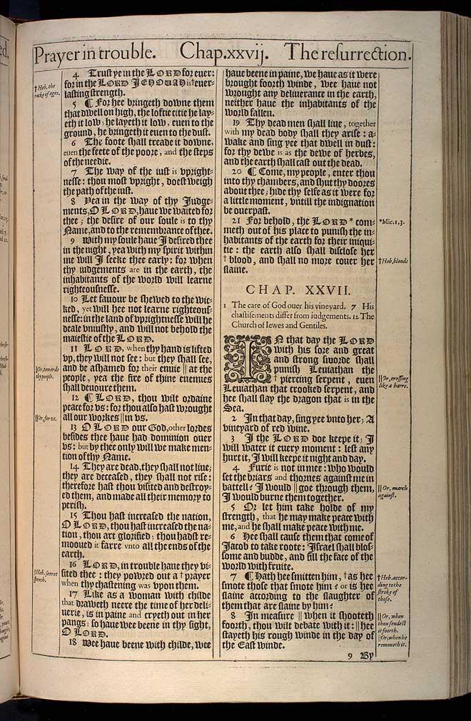 Isaiah Chapter 27 Original 1611 Bible Scan
