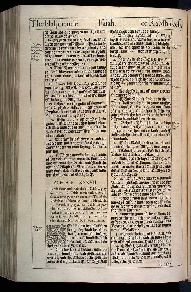 Isaiah Chapter 37 Original 1611 Bible Scan