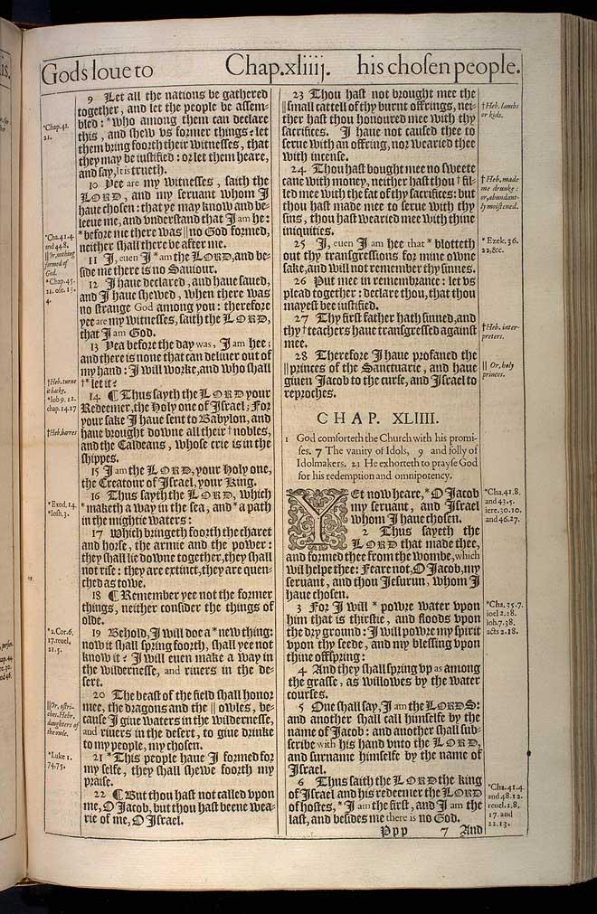 Isaiah Chapter 43 Original 1611 Bible Scan