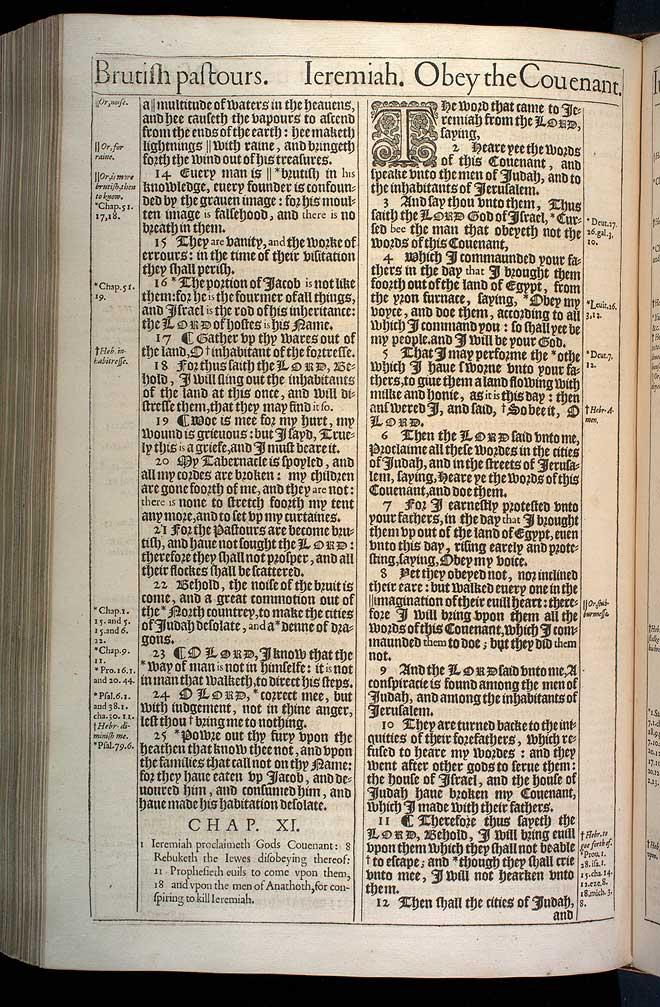 Jeremiah Chapter 11 Original 1611 Bible Scan