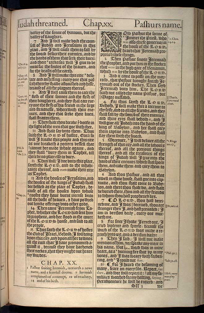 Jeremiah Chapter 20 Original 1611 Bible Scan