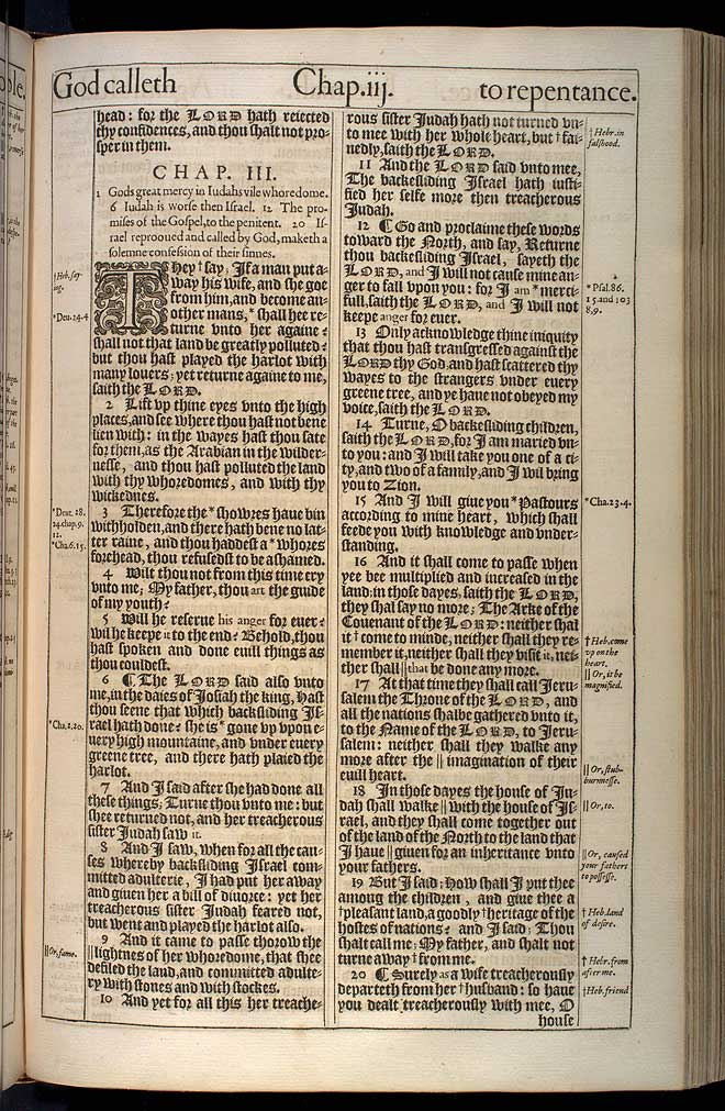 Jeremiah Chapter 3 Original 1611 Bible Scan