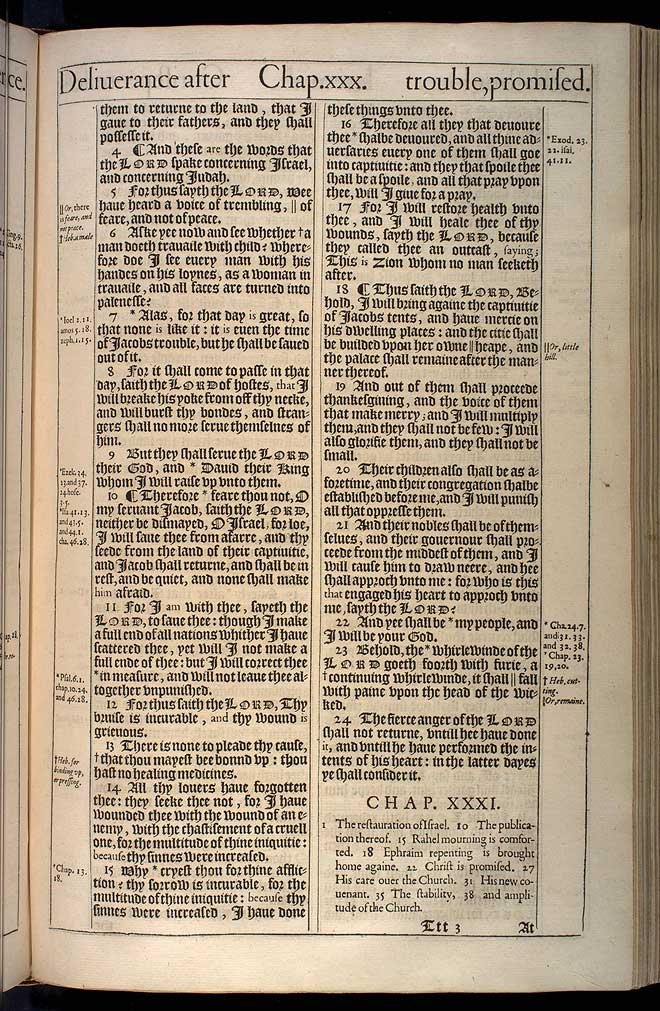 Jeremiah Chapter 30 Original 1611 Bible Scan