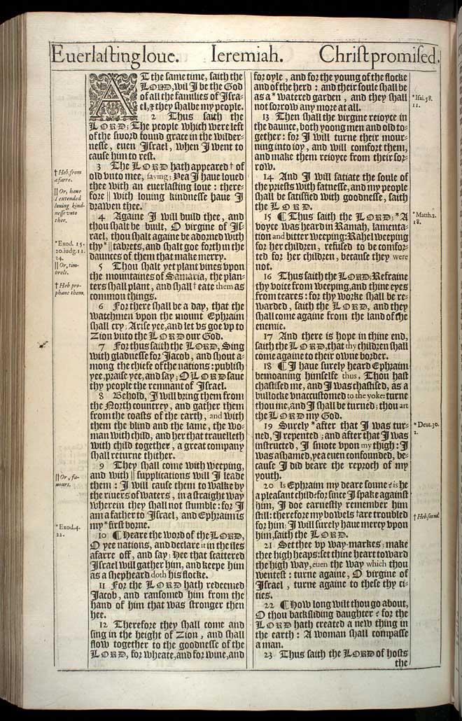 Jeremiah Chapter 31 Original 1611 Bible Scan