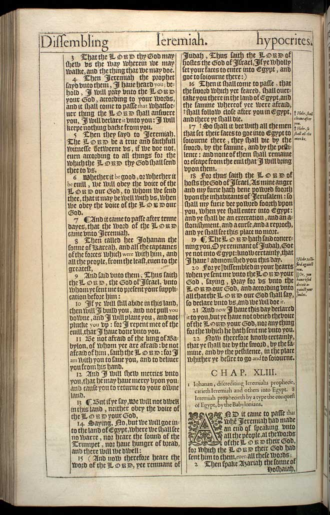 Jeremiah Chapter 42 Original 1611 Bible Scan