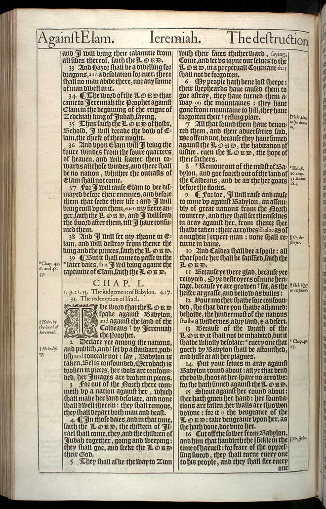 Jeremiah Chapter 50 Original 1611 Bible Scan