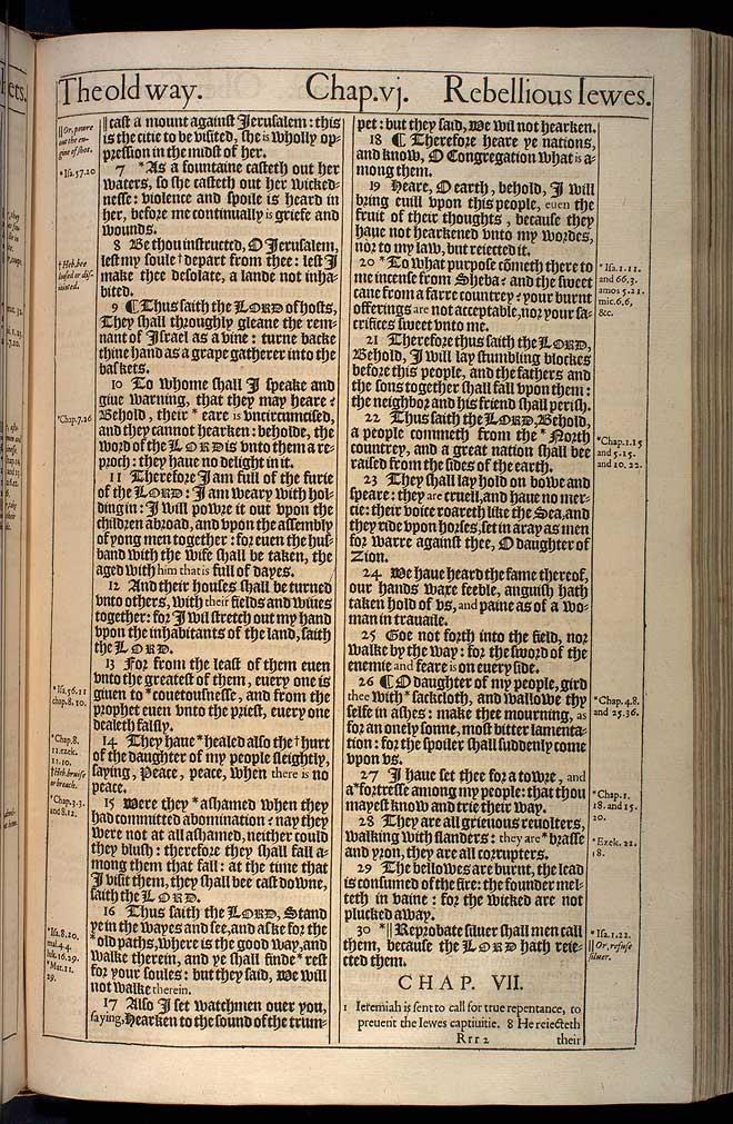 Jeremiah Chapter 6 Original 1611 Bible Scan