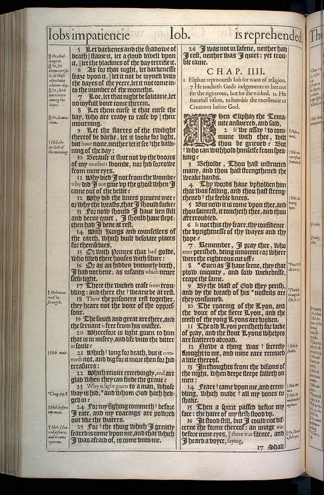 Job Chapter 4 Original 1611 Bible Scan