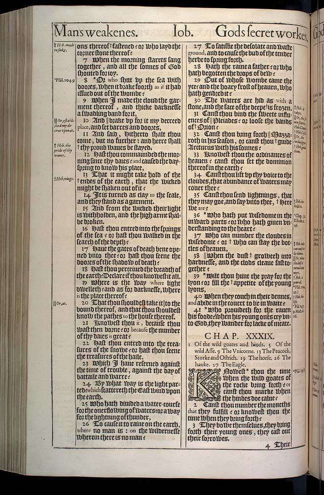 Job Chapter 38 Original 1611 Bible Scan