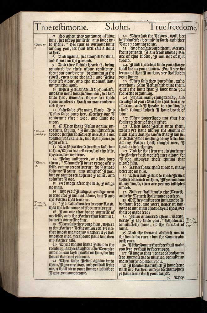 John Chapter 8 Original 1611 Bible Scan