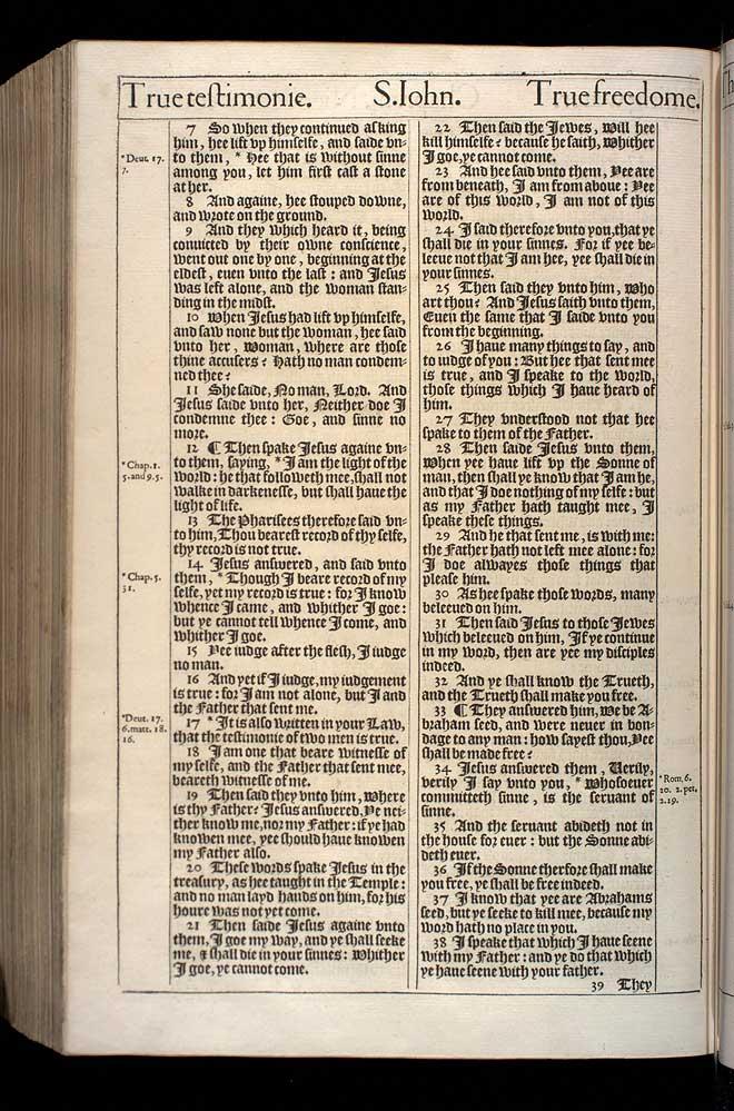John Chapter 8 Original 1611 Bible Scan