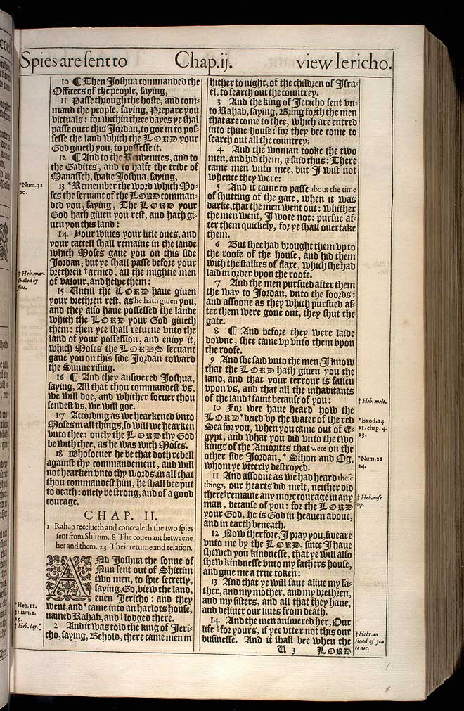 Joshua Chapter 2 Original 1611 Bible Scan