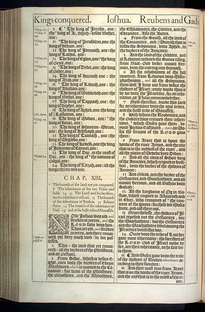 Joshua Chapter 13 Original 1611 Bible Scan