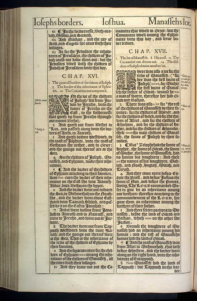 Joshua Chapter 16 Original 1611 Bible Scan