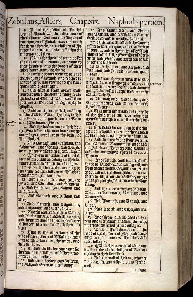Joshua Chapter 19 Original 1611 Bible Scan