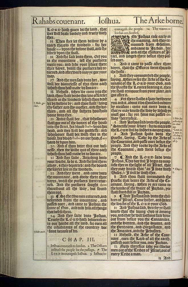 Joshua Chapter 3 Original 1611 Bible Scan