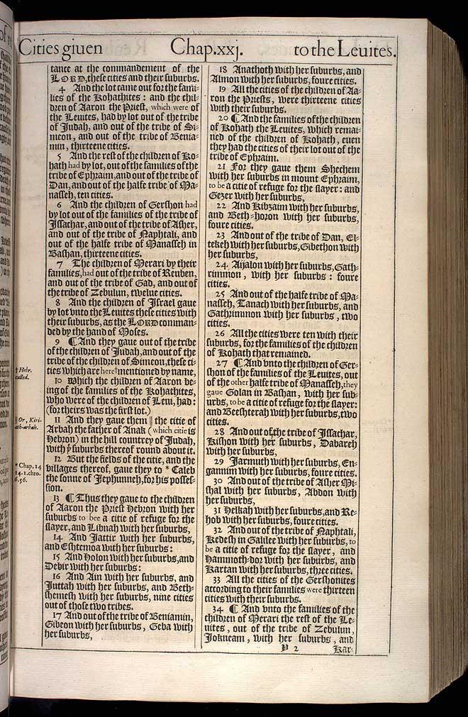 Joshua Chapter 21 Original 1611 Bible Scan