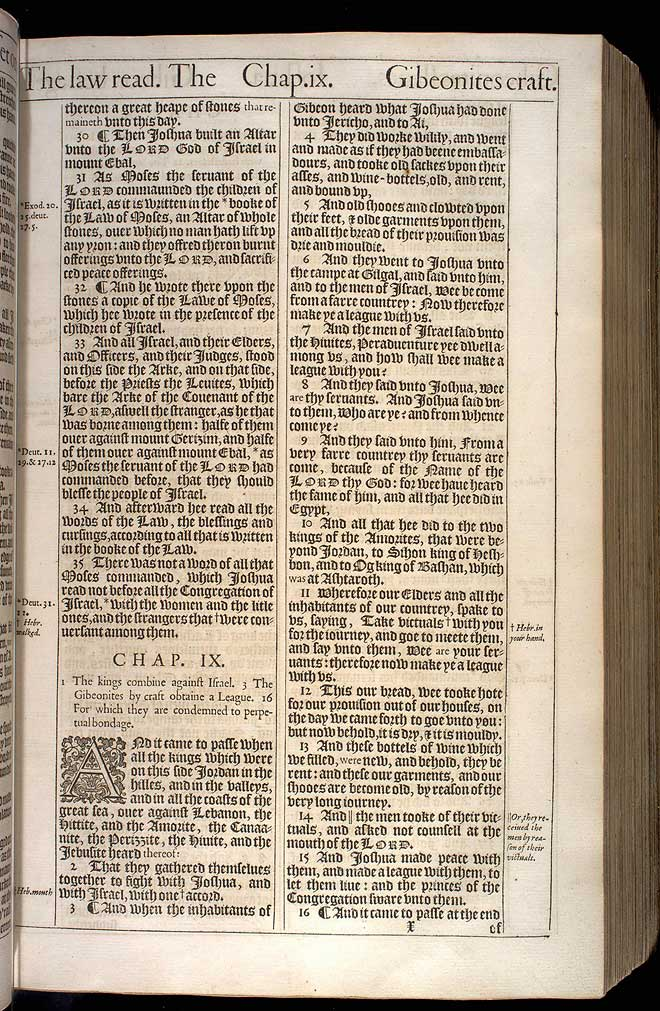Joshua Chapter 9 Original 1611 Bible Scan