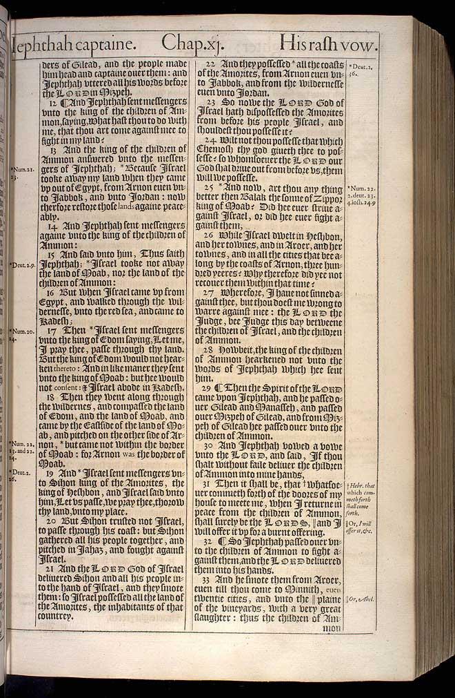 Judges Chapter 11 Original 1611 Bible Scan