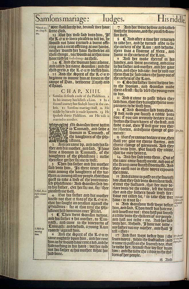 Judges Chapter 14 Original 1611 Bible Scan