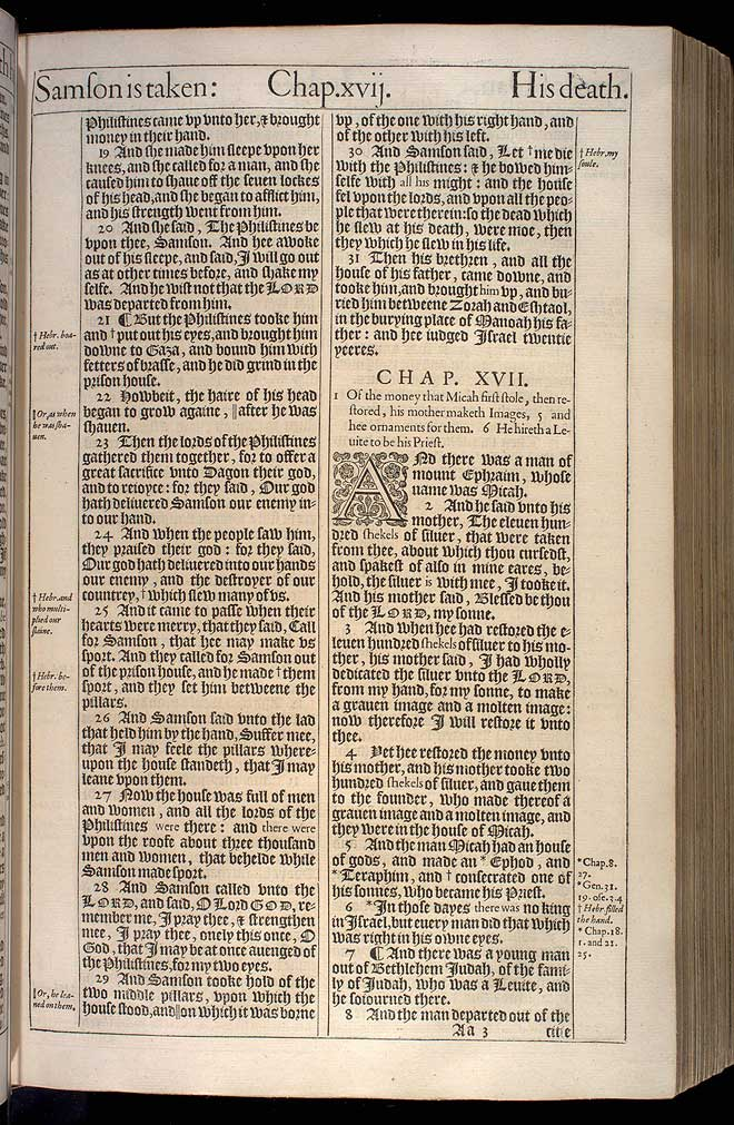 Judges Chapter 16 Original 1611 Bible Scan