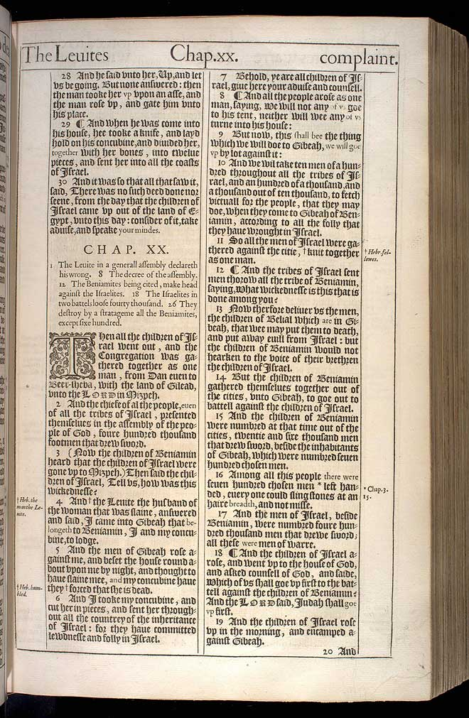 Judges Chapter 20 Original 1611 Bible Scan