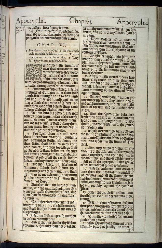 Judith Chapter 5 Original 1611 Bible Scan