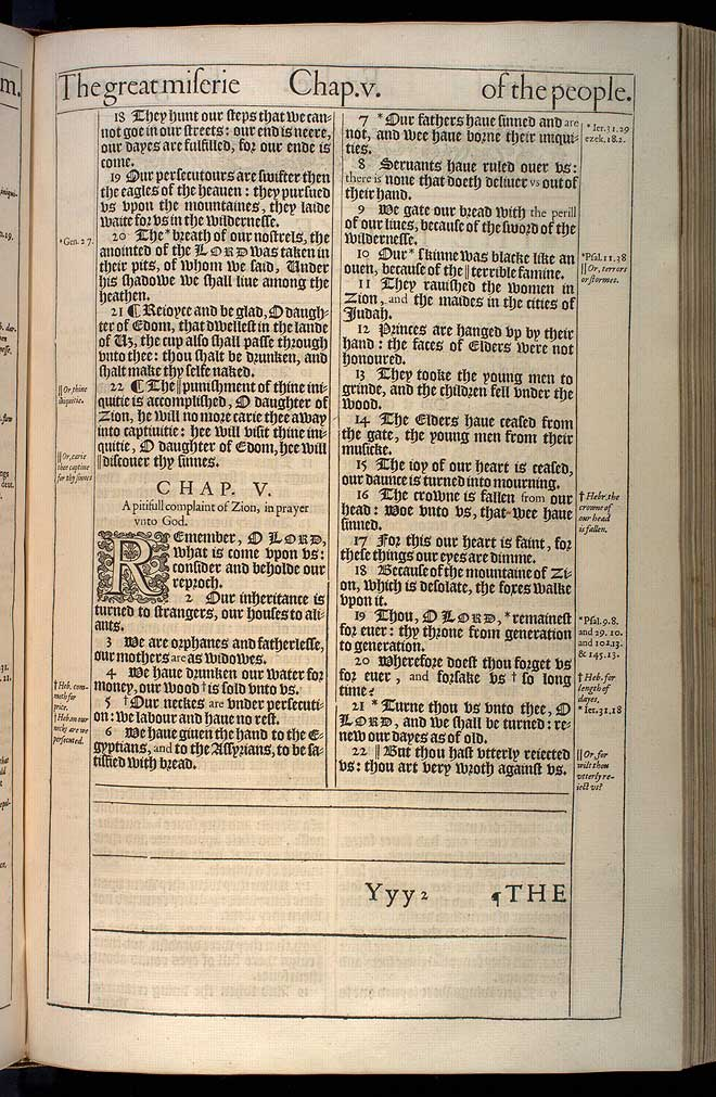 Lamentations Chapter 4 Original 1611 Bible Scan