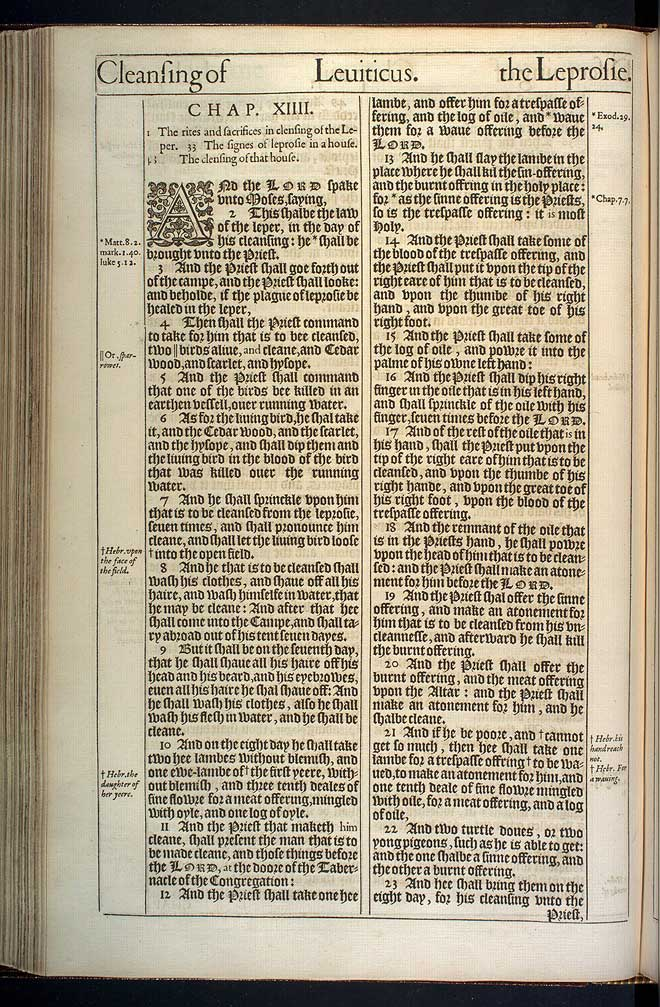 Leviticus Chapter 13 Original 1611 Bible Scan
