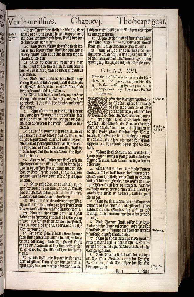 Leviticus Chapter 16 Original 1611 Bible Scan