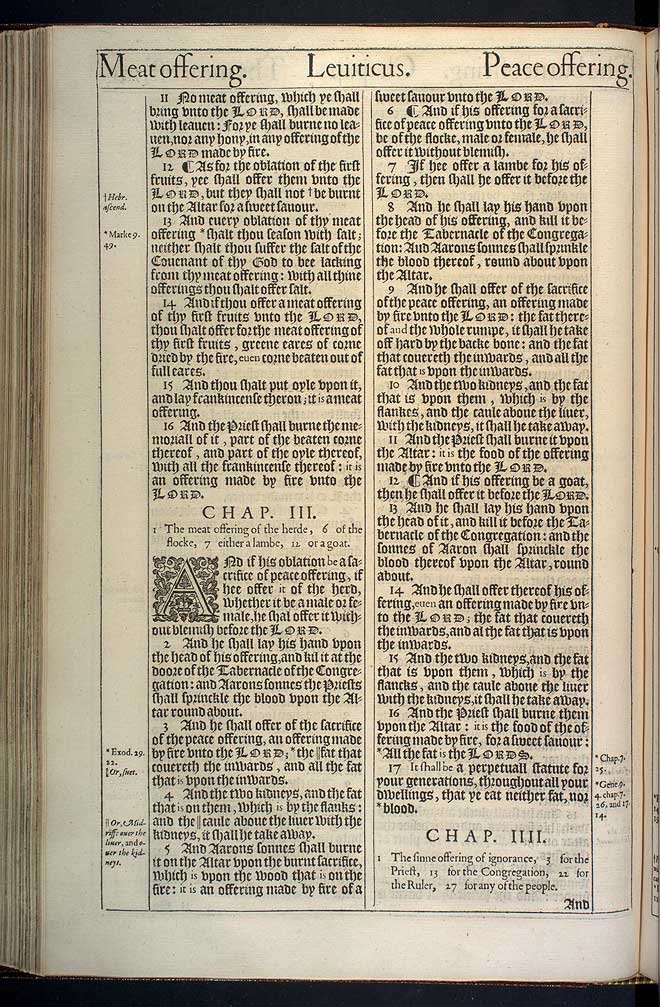 Leviticus Chapter 3 Original 1611 Bible Scan
