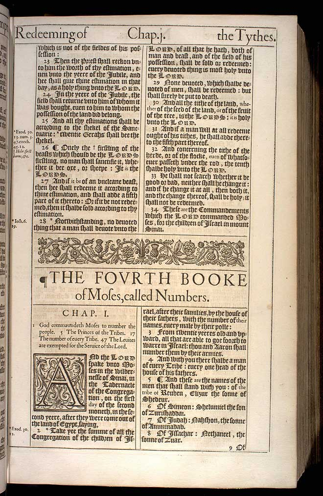 Numbers Chapter 1 Original 1611 Bible Scan